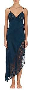 Raven & Sparrow by Stephanie Seymour Women's Asymmetric Lace-Trimmed Silk Gown-Teal
