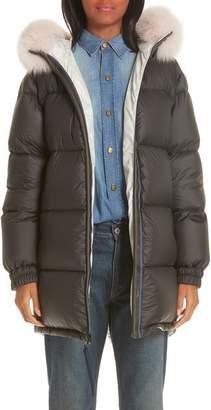 Mr & Mrs Italy Genuine Fox Fur Trim Down Fill Puffer Coat