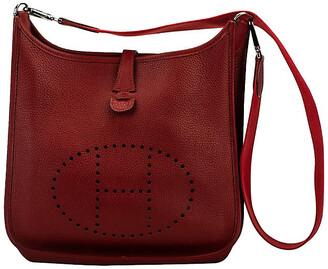 One Kings Lane Vintage Hermes Red Clemence PM Evelyne - Vintage Lux