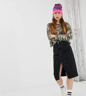 f1c30b30c Bershka midi split front pencil skirt in black
