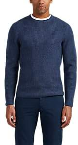 P. Johnson Men's Rib-Knit Merino Wool-Cashmere Sweater - Navy