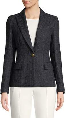 Escada One-Button Metallic-Tweed Blazer
