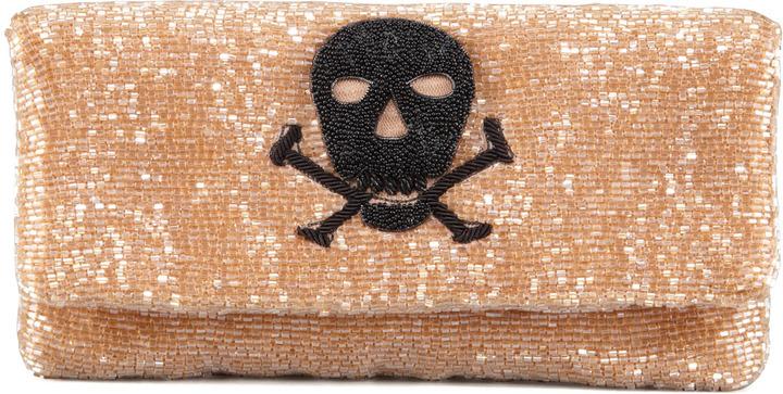 Moyna Skull Beaded Fold-Over Clutch Bag, Taupe