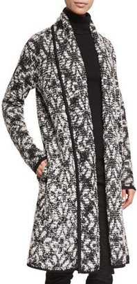 St. John Collection Arbat Knit Shawl-Collar Topper, Caviar/Frost $1,095 thestylecure.com