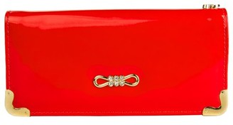 Vangoddy Women's Red Glossy Patent Leather Wallet With Card Holder Organizers and Convertible Vegan Leather Strap Wristlet