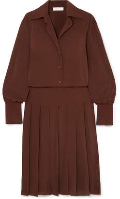 Chloé Pleated Silk Crepe De Chine Dress - Brown