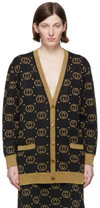 Gucci Black and Gold GG Motif Cardigan