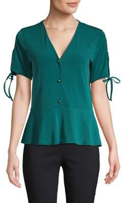 MICHAEL Michael Kors V-Neck Peplum Top