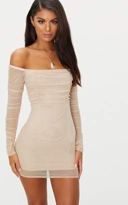 PrettyLittleThing Stone Ruched Mesh Bardot Bodycon Dress