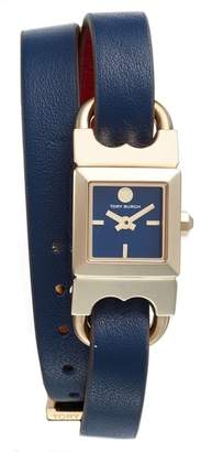 Tory Burch Double T Link Reversible Leather Strap Wrap Watch, 18mm