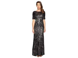 Adrianna Papell Short Sleeve Sequin Lace Mermaid Gown Women's Dress