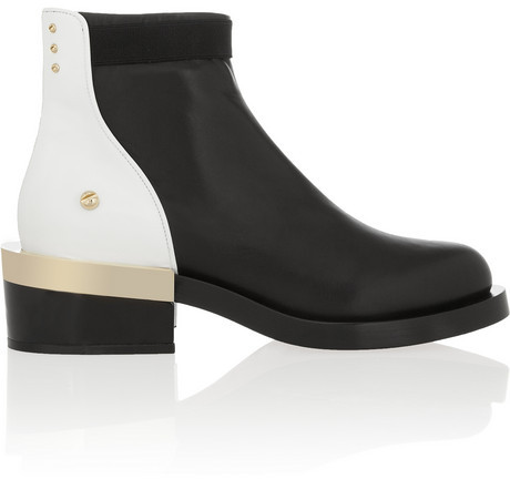 Givenchy Black and white leather ankle boot with black and gold metal heel