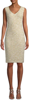 St. John Sleeveless Gilded Eyelash Metallic Knit Sheath Cocktail Dress w/ Beaded Trim