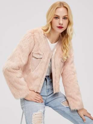 3b81c20a83 Shein Pocket Front Faux Fur Coat