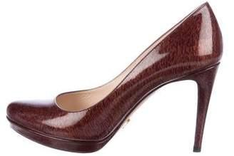 Prada Patent Semi-Pointed Toe Leather Pumps