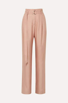 Sally LaPointe - Belted Silk-satin Twill Wide-leg Pants - Blush