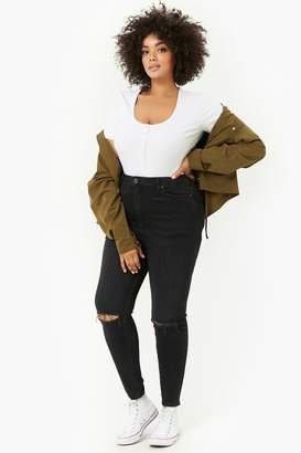 Forever 21 Plus Size Sculpted Ripped Knee Jeans
