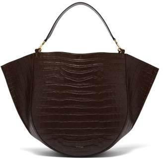 Wandler - Mia Crocodile Effect Leather Tote Bag - Womens - Dark Brown