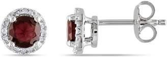 Concerto Garnet Diamond and Sterling Silver Stud Earrings