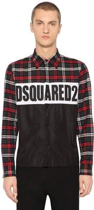 DSQUARED2 Logo Heavy Cotton Check & Nylon Shirt