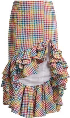 Caroline Constas Ruffled asymmetric-hem gingham skirt