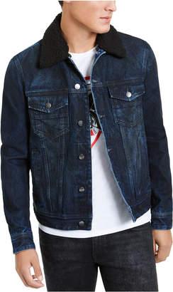 GUESS Men Fleece Collar Denim Jacket