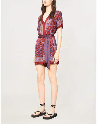 Sandro Floral-print short-sleeved satin playsuit