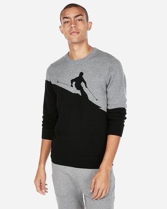 Express Ski Pattern Crew Neck Sweater