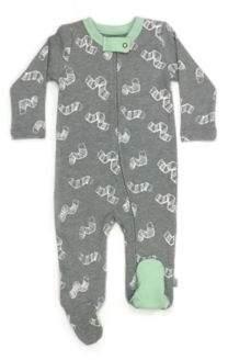 Finn by Finn + Emma Organic Cotton Worms Footie Pajamas in Grey