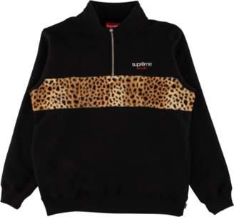 Supreme Leopard Panel Half Zip Sweatsh - Black