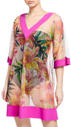 Chiara Boni Bryce Sheer Floral-Print Coverup