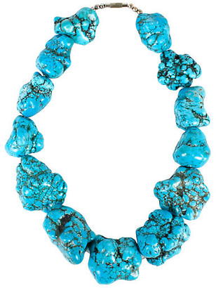 One Kings Lane Vintage Raw Turquoise Beaded Necklace - N.P.Trent Antiques
