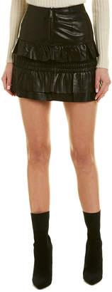 Maje Smocked Leather Mini Skirt