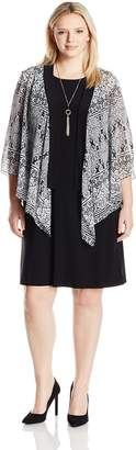 Tiana B Women's Plus Size Tribal Printed Chiffon Jacket with Shift Dress, Black/White, 18W