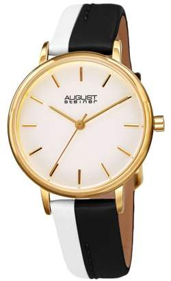 August Steiner Gold Tone Casual Quartz Watch With Leather Strap [AS8261BK]