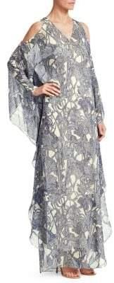 Roberto Cavalli Floral Silk Cold-Shoulder Caftan
