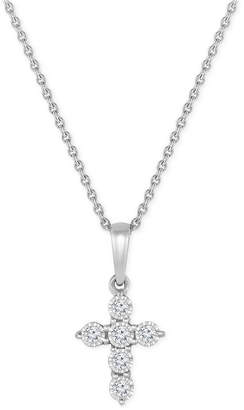 TruMiracle Small Diamond Cross Pendant Necklace (1/10 ct. t.w.) in 10k White Gold