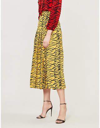RIXO Tina pleated tiger-print silk-crepe midi skirt