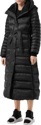 Burberry Kington Faux Fur Trim Long Down Coat
