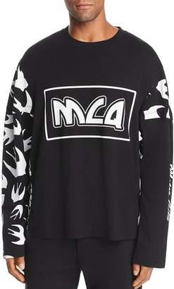 McQ Long-Sleeve Swallows & Logo-Print Patchwork Tee