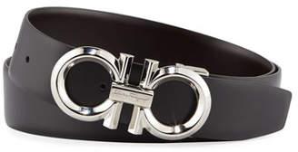 Salvatore Ferragamo Men's Reversible Leather Belt with Beveled Gancini Buckle