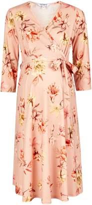 Dorothy Perkins Womens **Maternity Pink Floral Print Wrap Dress