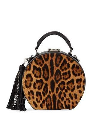 Saint Laurent Mica Small Leopard Hatbox Crossbody Bag with Charm