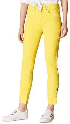Karen Millen Lace-Up Skinny Jeans in Yellow