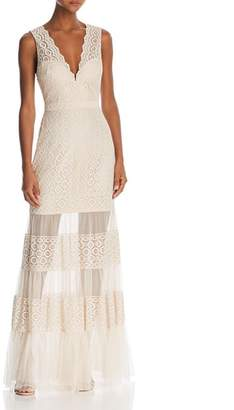 BCBGMAXAZRIA Sleeveless Lace Sheer-Hem Gown