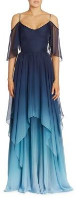 Theia Cold-Shoulder Ombre Chiffon Gown $995 thestylecure.com