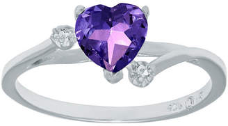 FINE JEWELRY Genuine Amethyst and White Topaz Sterling Silver Heart-Shaped Ring