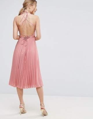 Asos DESIGN Wrap Front Pleated Midi Dress