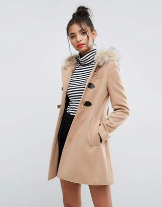 Asos DESIGN Duffle Coat with Faux Fur Hood