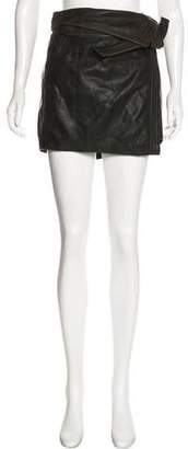 Maison Scotch Leather Mini Skirt